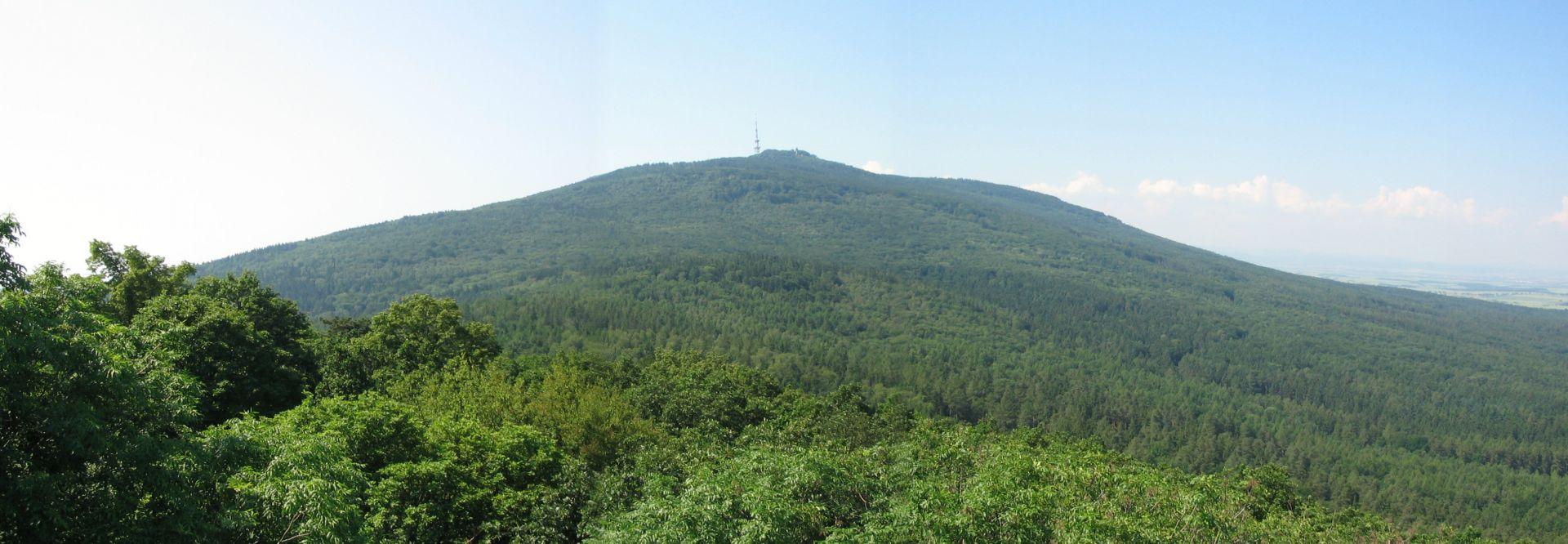 Widok na Ślężę z wieży na Wieżycy
