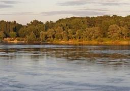 Panorama Kępy Bazarowej z mostu drogowego w Toruniu