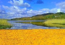 plaża nad jeziorem nieopdal Krańca Świata
