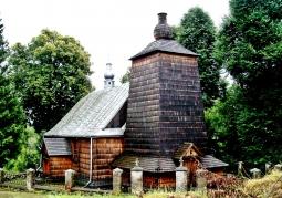 Gmach drewnianej cerkwi latem